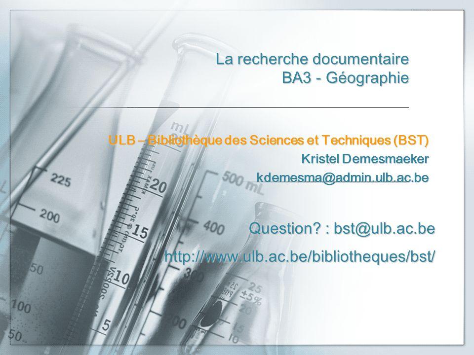 La recherche documentaire BA3 - Géographie
