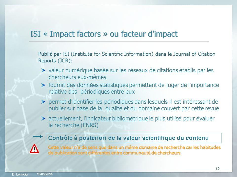 ISI « Impact factors » ou facteur d'impact