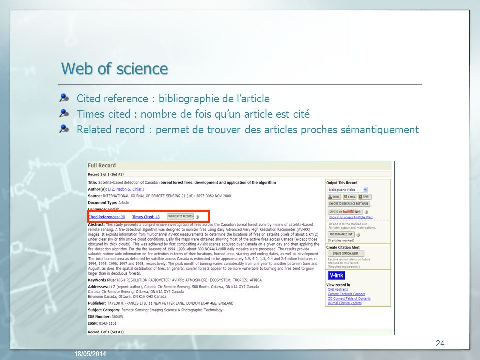 Web of science Cited reference : bibliographie de l'article