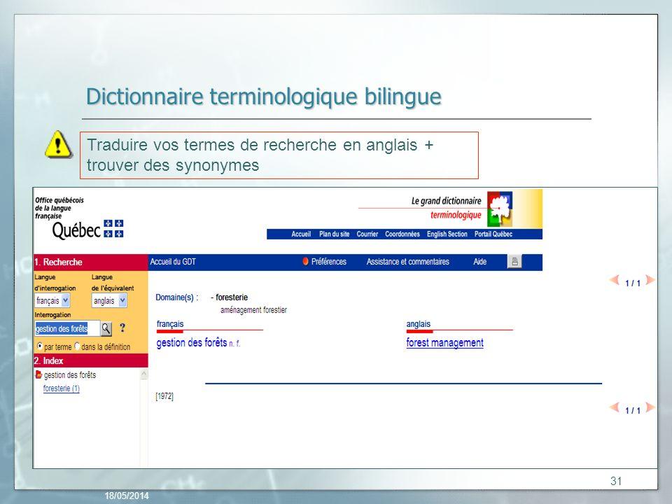 Dictionnaire terminologique bilingue