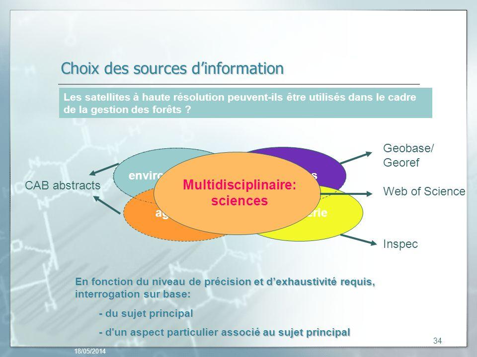 Choix des sources d'information