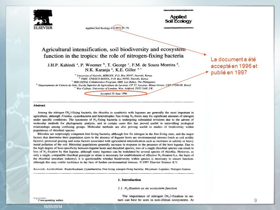 Le document a été accepté en 1996 et publié en 1997