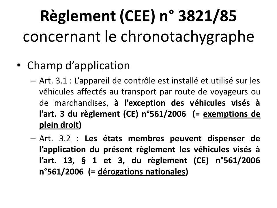Règlement (CEE) n° 3821/85 concernant le chronotachygraphe