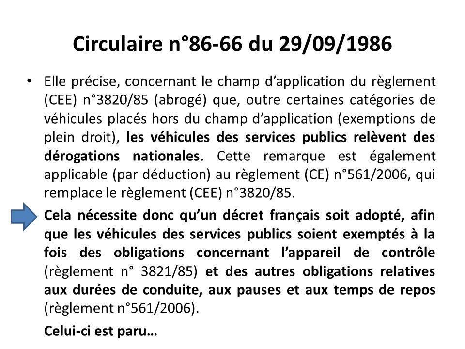 Circulaire n°86-66 du 29/09/1986
