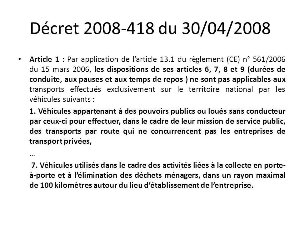 Décret 2008-418 du 30/04/2008
