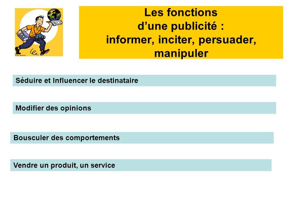 Les fonctions d'une publicité : informer, inciter, persuader, manipuler