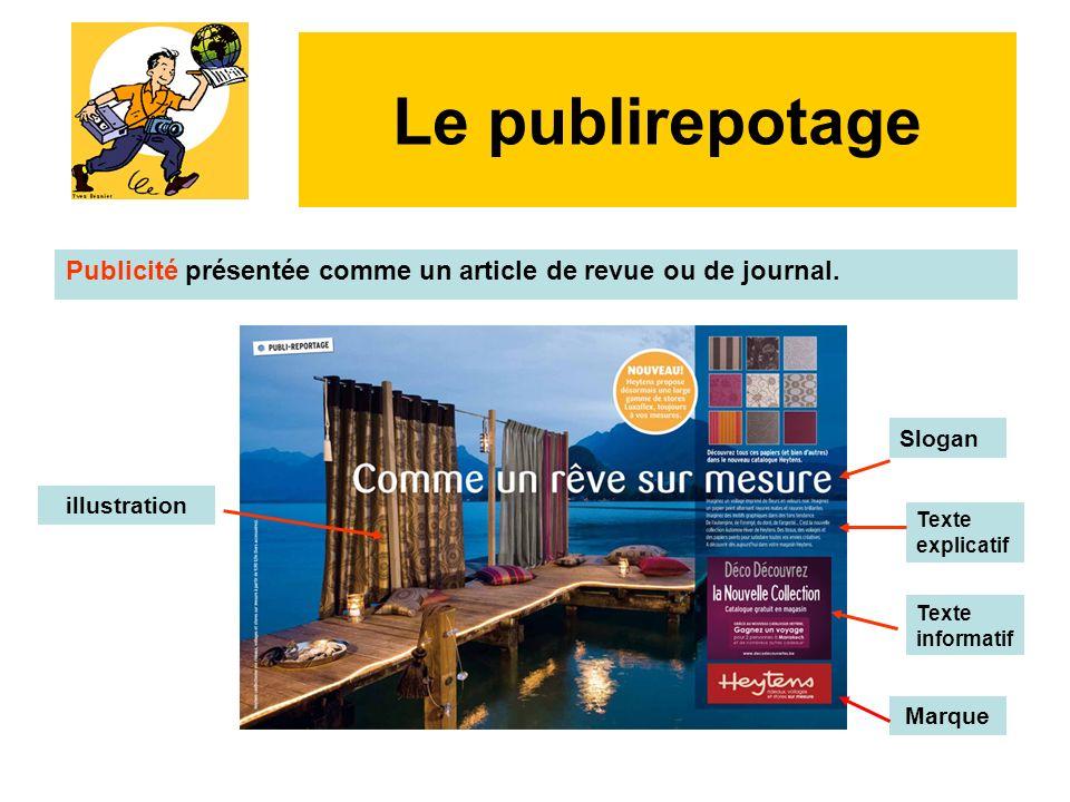 Le publirepotage Publicité présentée comme un article de revue ou de journal. Slogan. illustration.