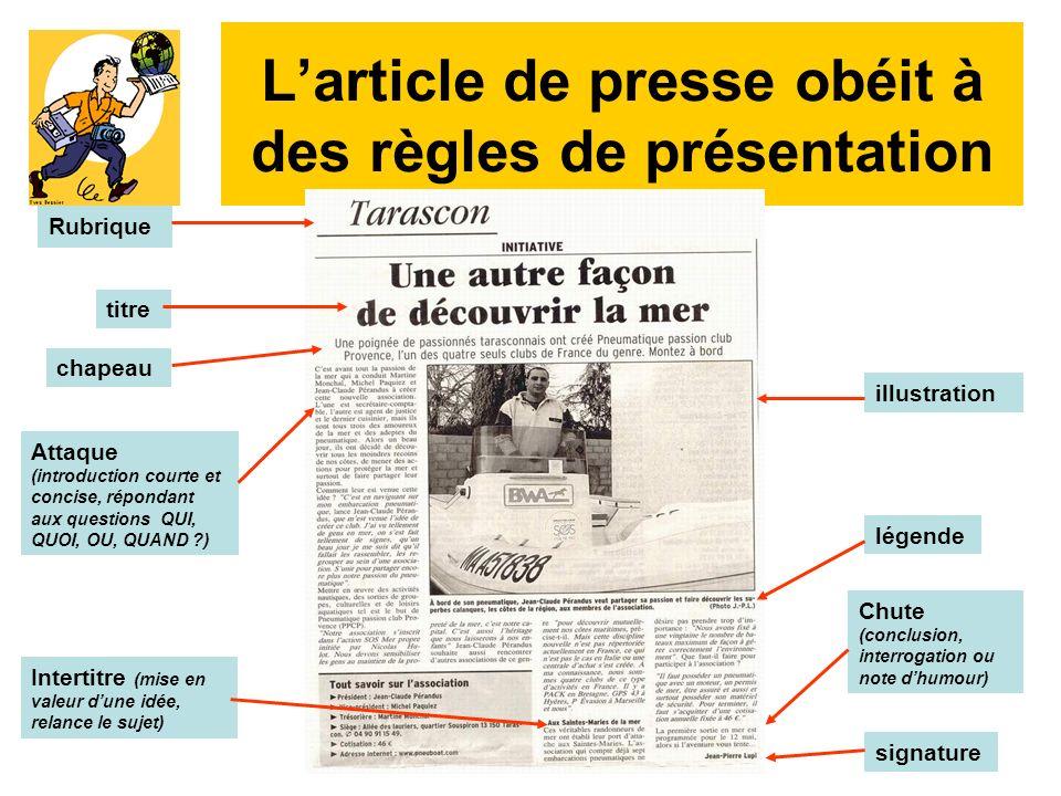 L'article de presse obéit à des règles de présentation