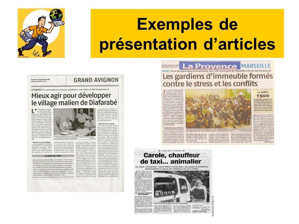 Exemples de présentation d'articles