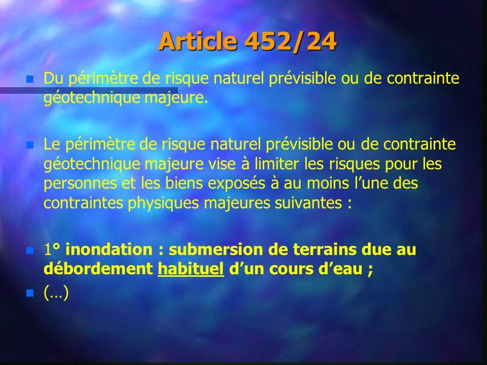 Article 452/24 Du périmètre de risque naturel prévisible ou de contrainte géotechnique majeure.