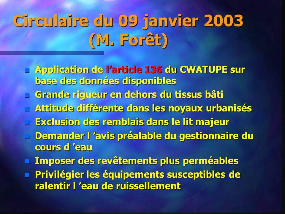 Circulaire du 09 janvier 2003 (M. Forêt)