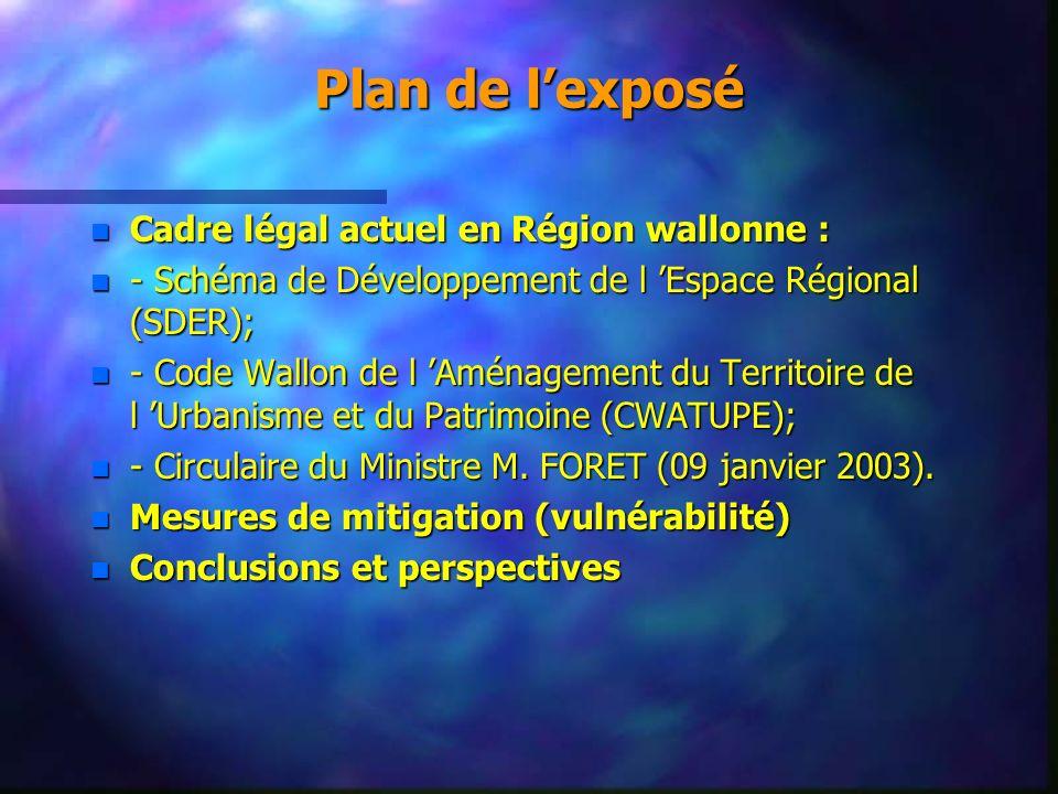 Plan de l'exposé Cadre légal actuel en Région wallonne :