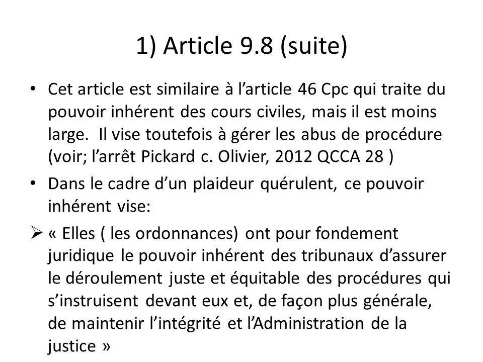 1) Article 9.8 (suite)