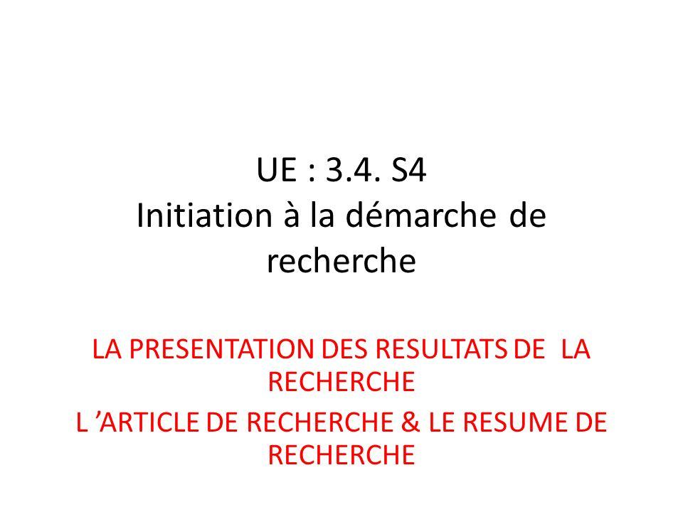 UE : 3.4. S4 Initiation à la démarche de recherche