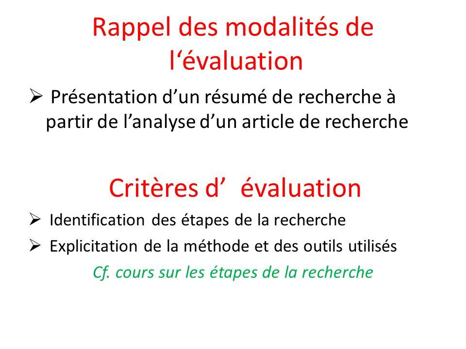Rappel des modalités de l'évaluation