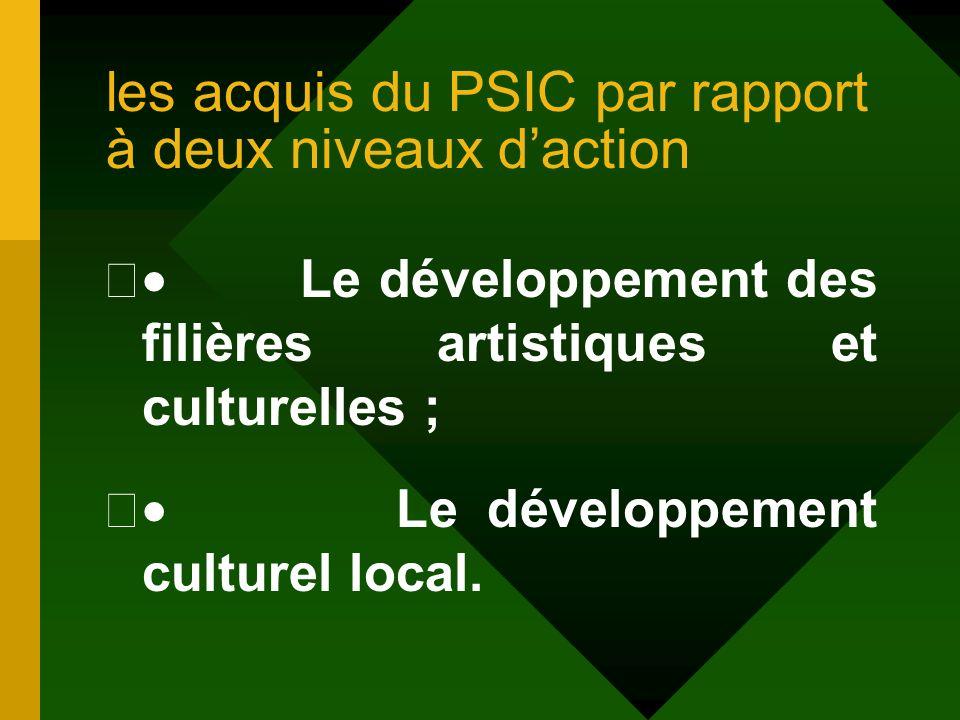 les acquis du PSIC par rapport à deux niveaux d'action