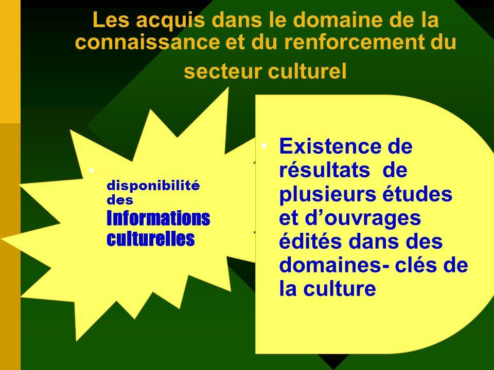 Les acquis dans le domaine de la connaissance et du renforcement du secteur culturel