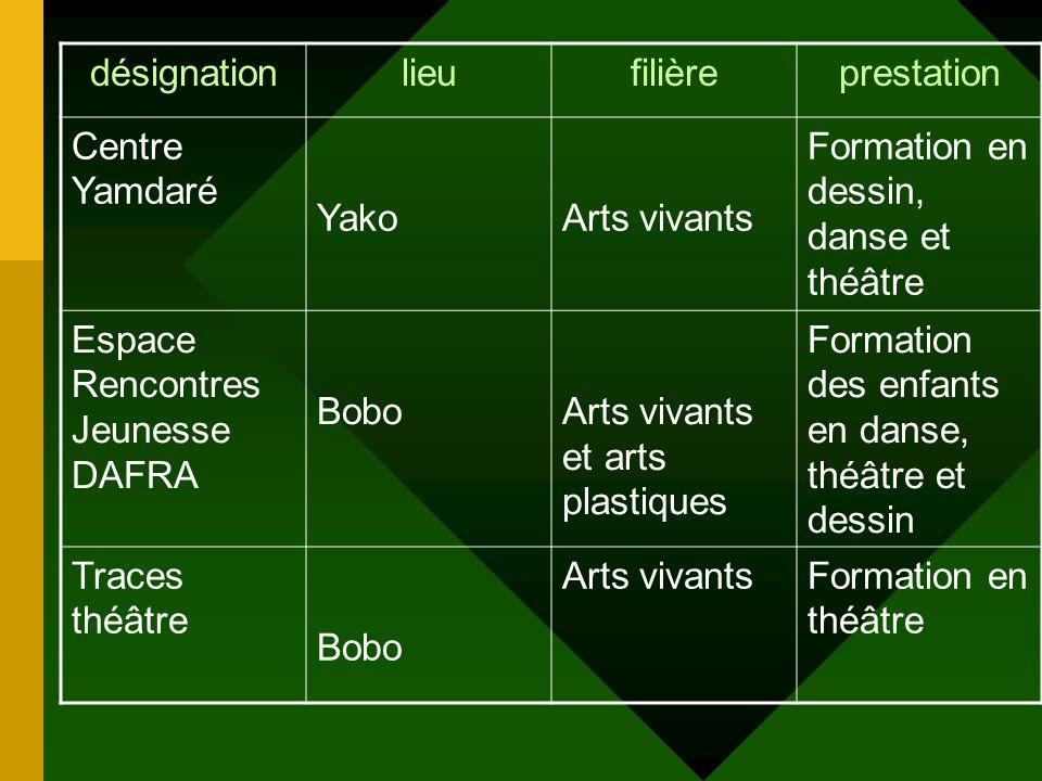 désignation lieu. filière. prestation. Centre Yamdaré. Yako. Arts vivants. Formation en dessin, danse et théâtre.