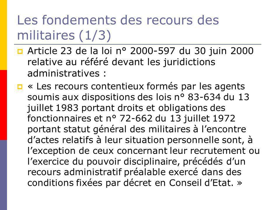 Les fondements des recours des militaires (1/3)
