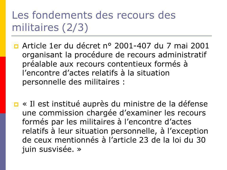 Les fondements des recours des militaires (2/3)