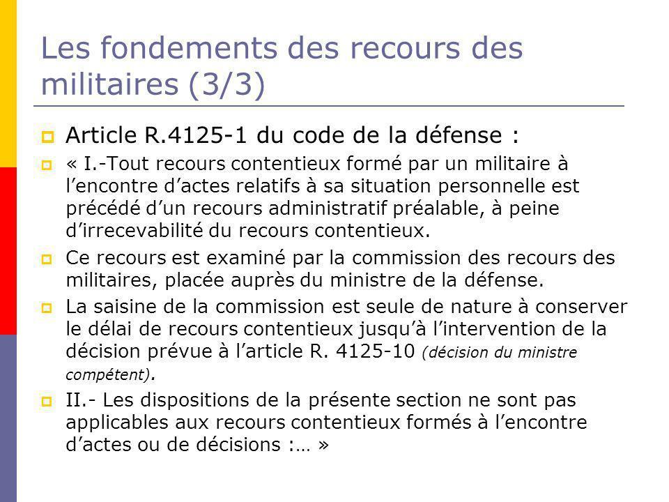Les fondements des recours des militaires (3/3)