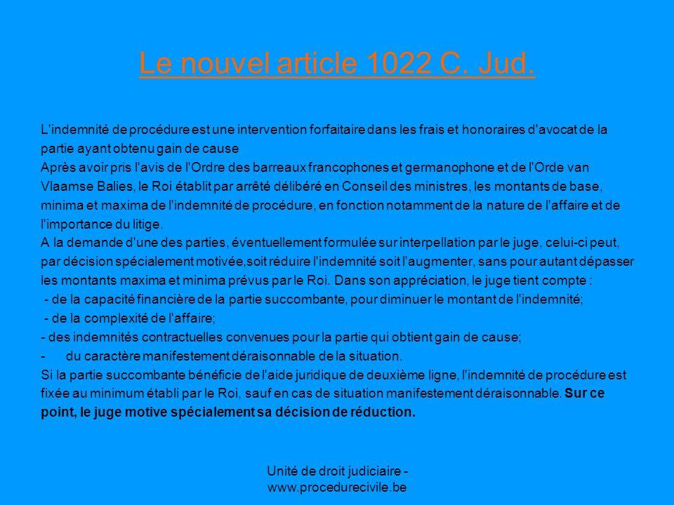 Unité de droit judiciaire - www.procedurecivile.be