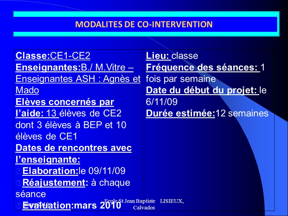 MODALITES DE CO-INTERVENTION