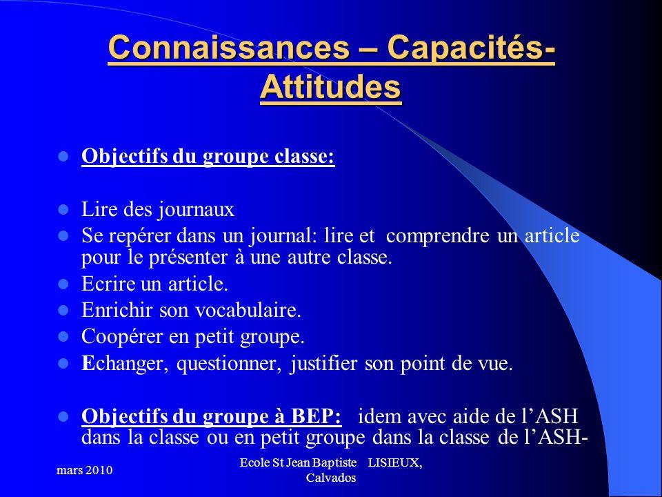 Connaissances – Capacités- Attitudes