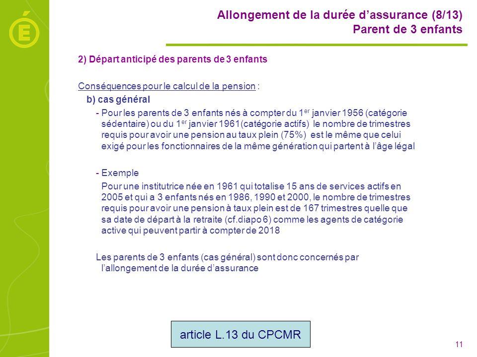 Allongement de la durée d'assurance (8/13) Parent de 3 enfants