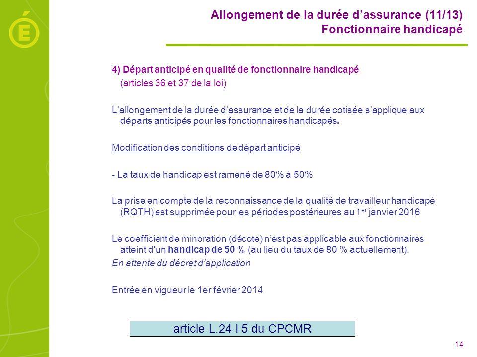 Allongement de la durée d'assurance (11/13) Fonctionnaire handicapé