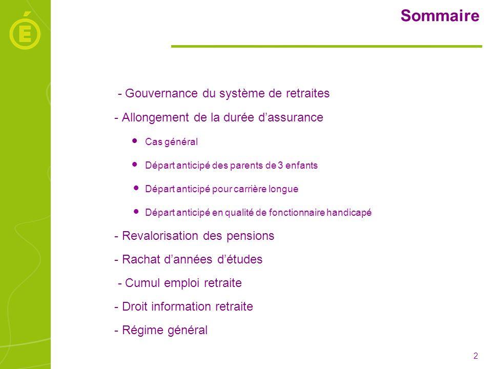 Sommaire - Gouvernance du système de retraites