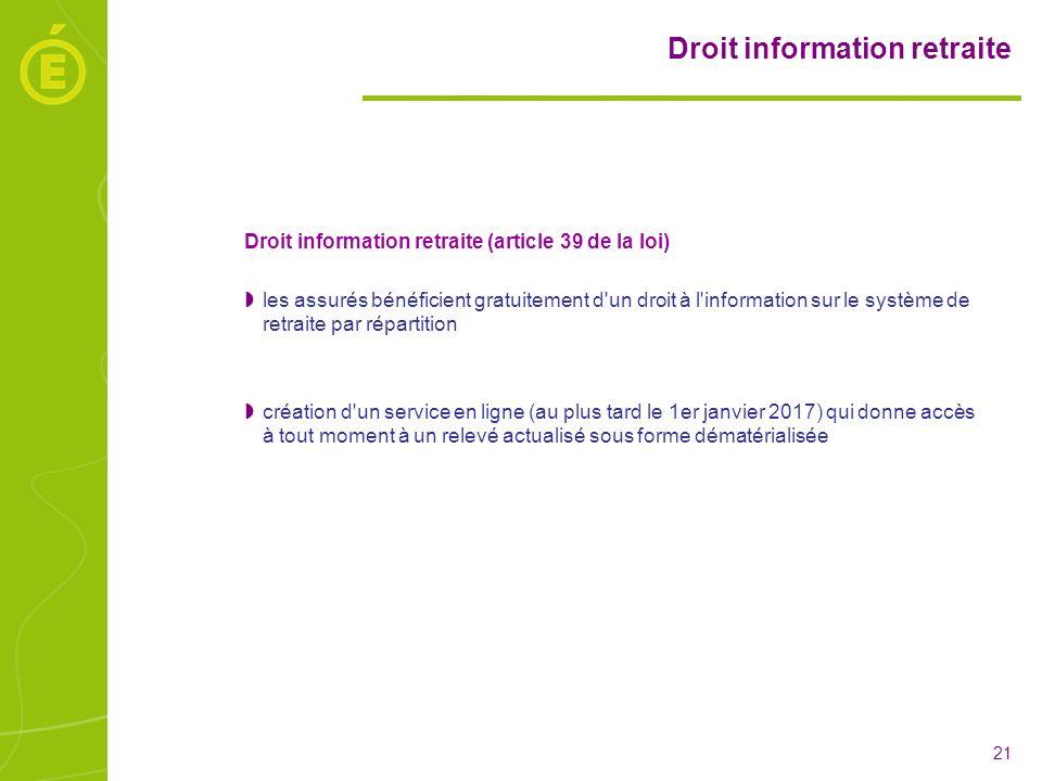 Droit information retraite