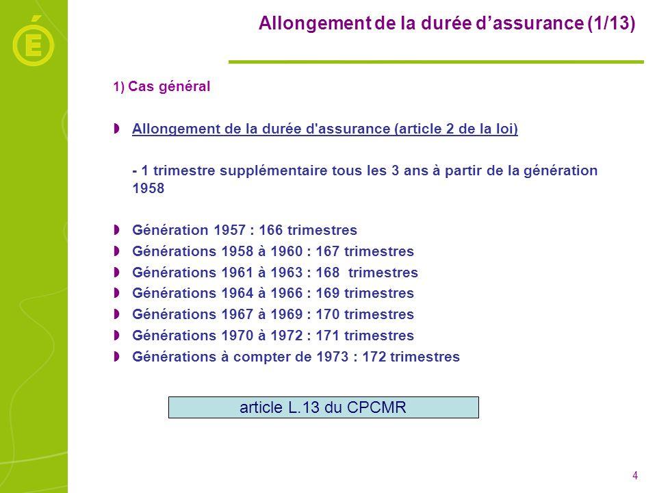Allongement de la durée d'assurance (1/13)