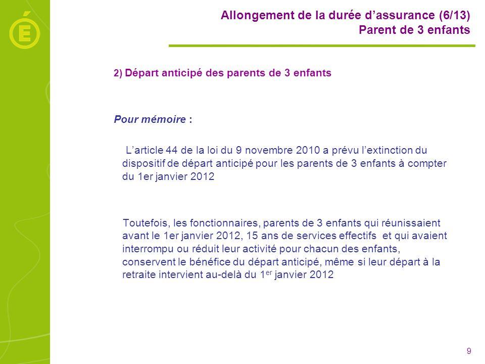 Allongement de la durée d'assurance (6/13) Parent de 3 enfants