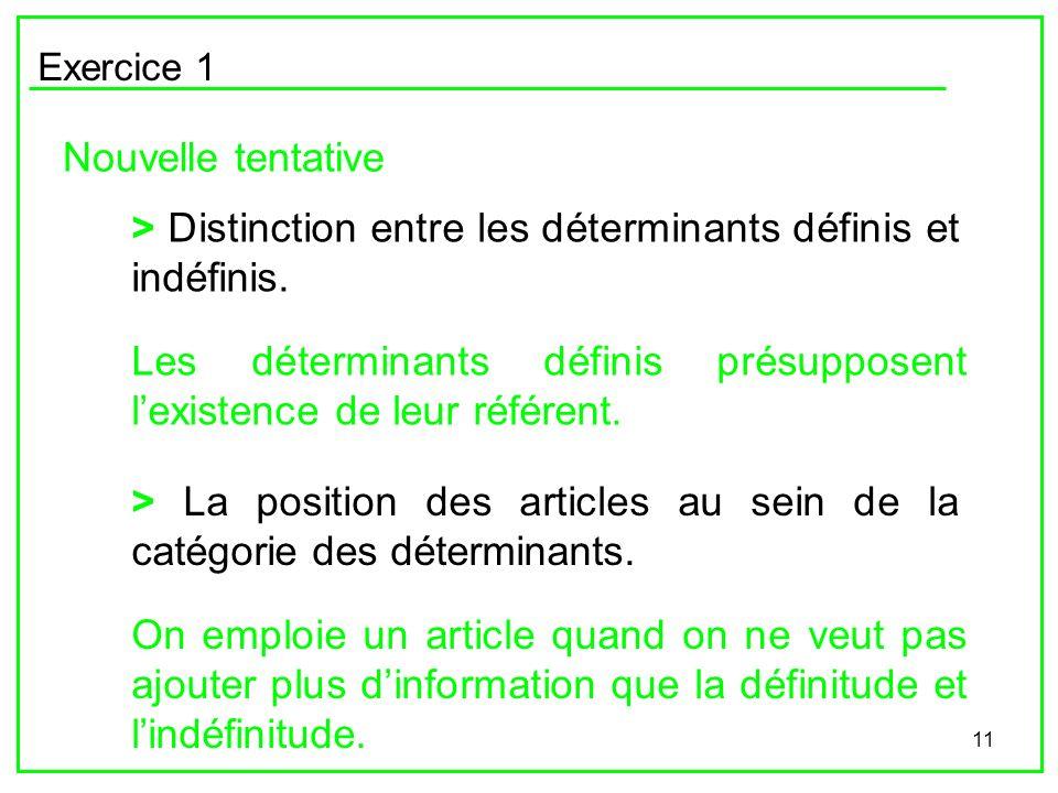 > Distinction entre les déterminants définis et indéfinis.