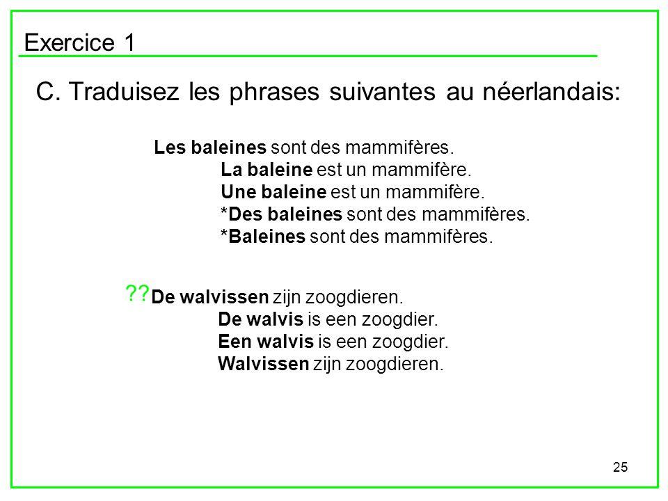 C. Traduisez les phrases suivantes au néerlandais: