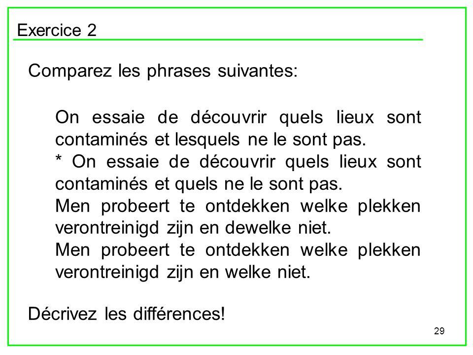 Comparez les phrases suivantes: