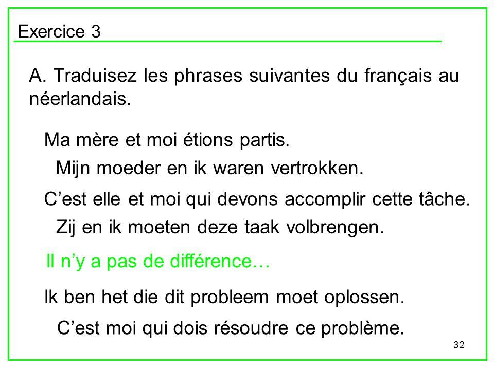 A. Traduisez les phrases suivantes du français au néerlandais.