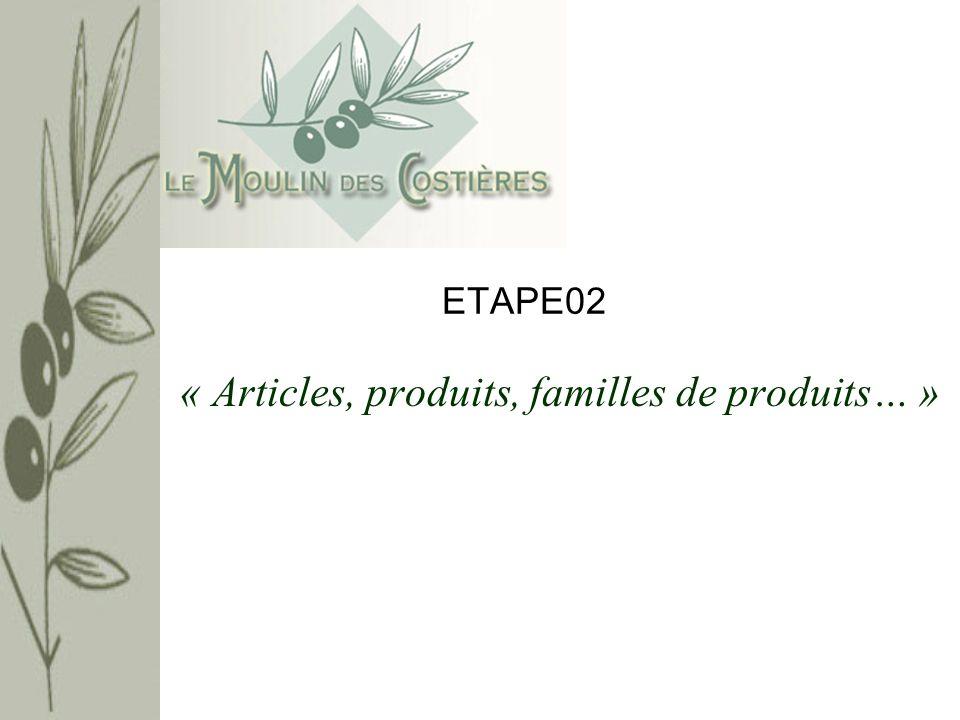« Articles, produits, familles de produits… »