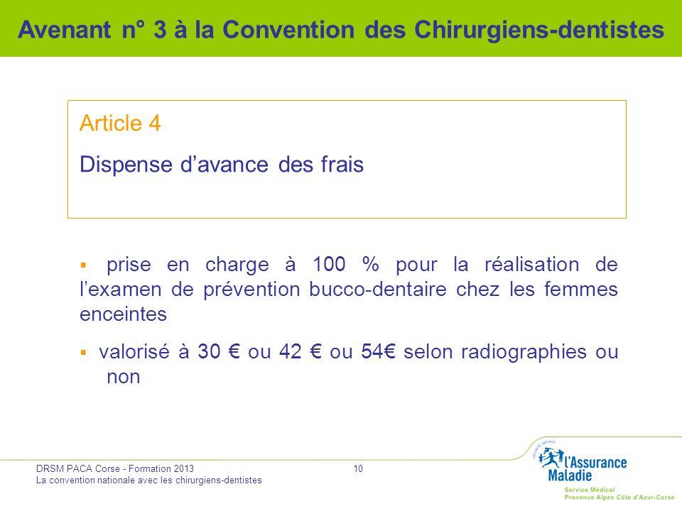 Avenant n° 3 à la Convention des Chirurgiens-dentistes