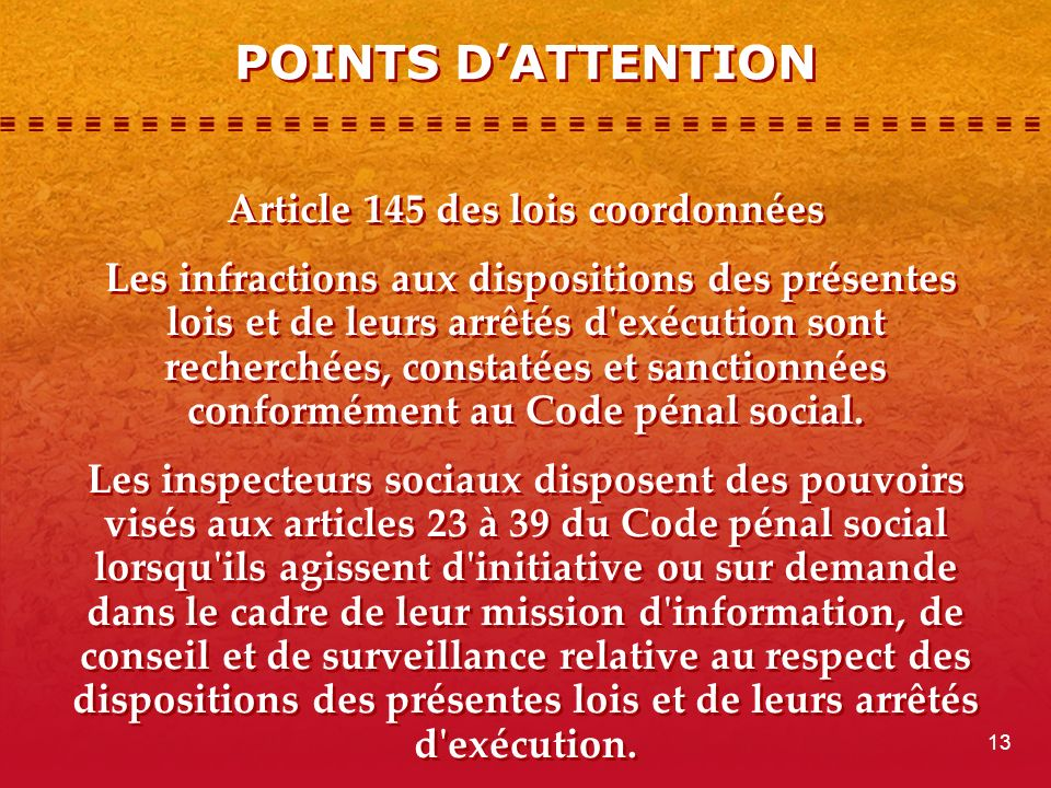 POINTS D'ATTENTION
