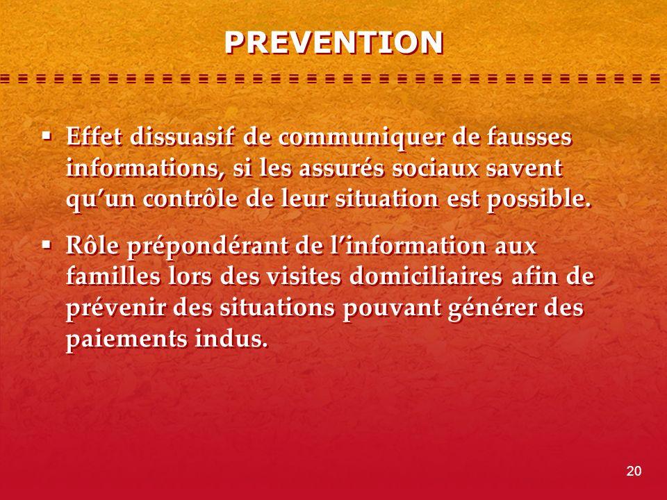 PREVENTION Effet dissuasif de communiquer de fausses informations, si les assurés sociaux savent qu'un contrôle de leur situation est possible.