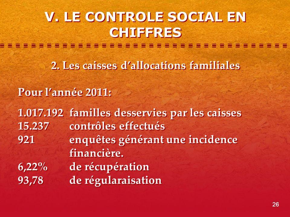 V. LE CONTROLE SOCIAL EN CHIFFRES