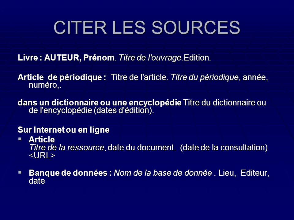 CITER LES SOURCES Livre : AUTEUR, Prénom. Titre de l ouvrage.Edition.