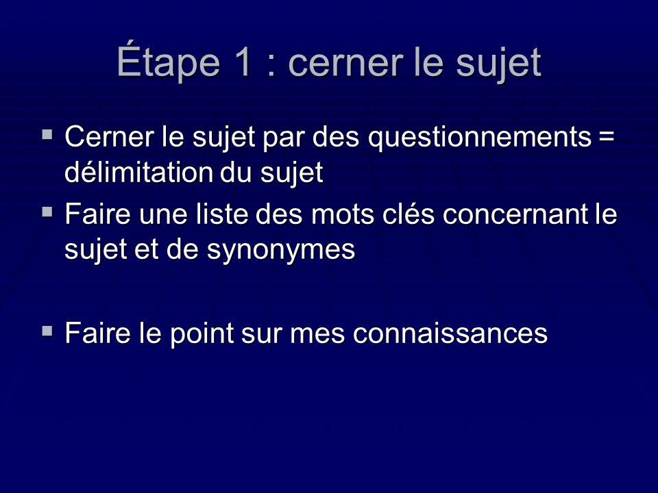 Étape 1 : cerner le sujet Cerner le sujet par des questionnements = délimitation du sujet.