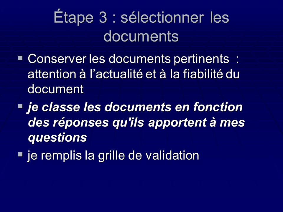 Étape 3 : sélectionner les documents