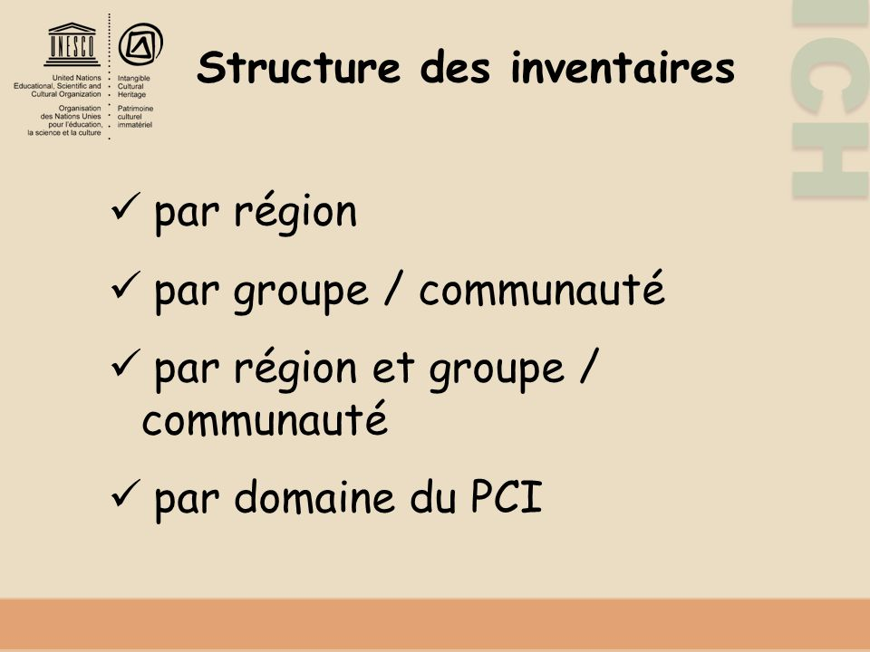Structure des inventaires