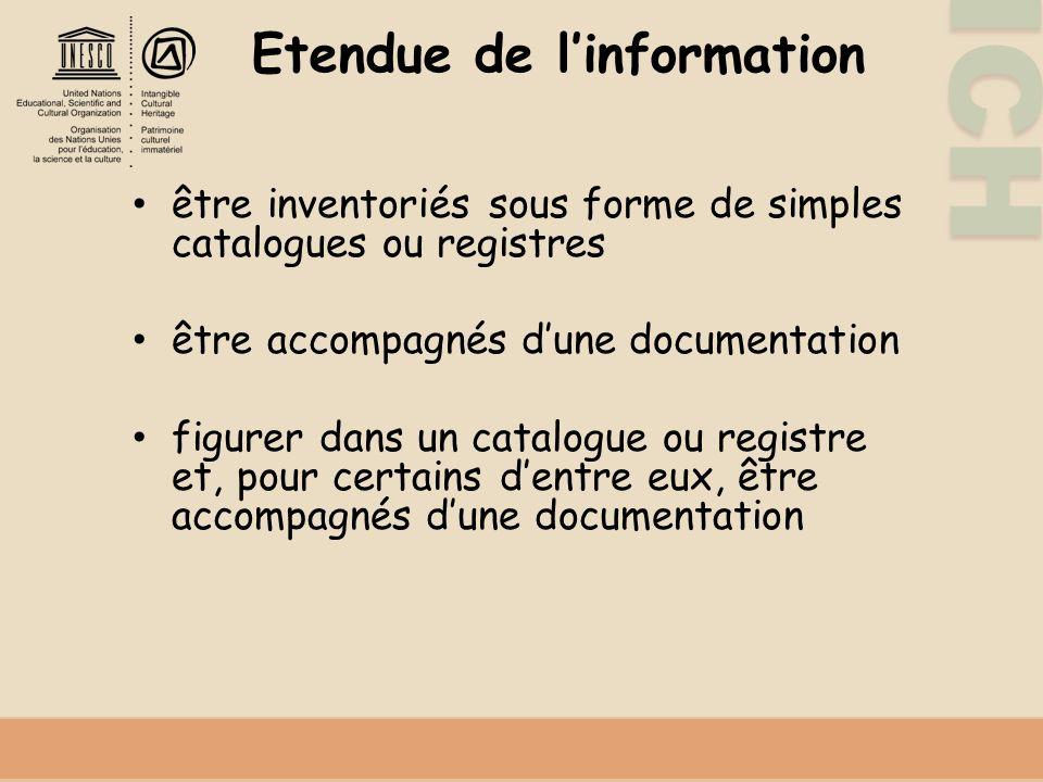 Etendue de l'information