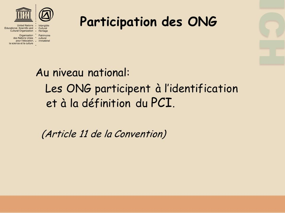 Participation des ONG Au niveau national: