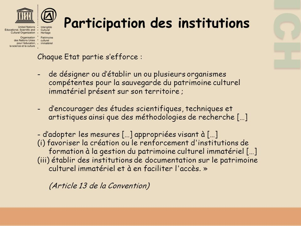 Participation des institutions